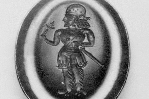 Stamp seal: standing noble holding a flower