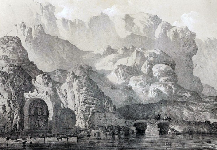 Cave_and_village_Tagh_i_Bustan_By_Eugène_Flandin